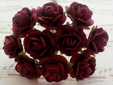 100! Long Stem Handmade Mulberry Paper Roses - 10/15mm - Deep Burgundy Red Rose!