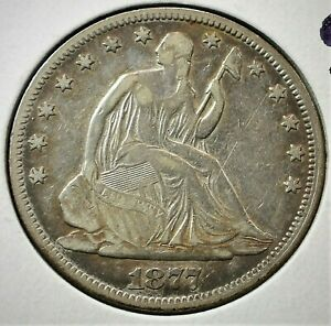 1877 USA Seated Liberty Silver Half Dollar in VF Condition   (016)