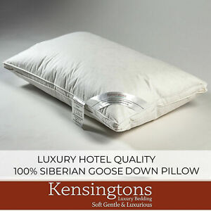 New Luxury 100% Pure Siberian Goose Down Pillows Hotel Quality White Snow