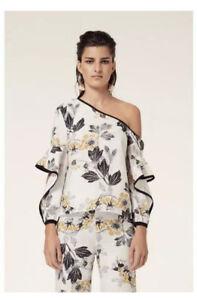 🤍 Once Was   Ashton   Waterfall Linen Blend Print Top   Sz 2 (10)