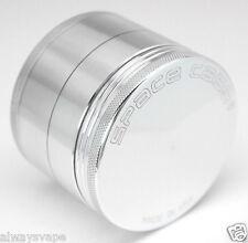 "Space Case Herb & Tobacco Grinder Medium 2.5"" Inch 4 Piece Aluminum Silver New"
