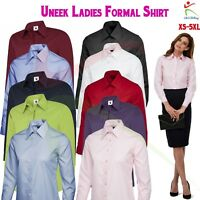 Uneek LADIES POPLIN FULL SLEEVE SHIRT Women's Formal Dress Office Work Wear TOP