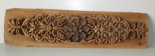 Indian Antique Embossed Flower Carved Wooden Panel Finely Carved Wooden Panel