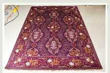 "5' X 7' 06"" Kashan Deep-Vivid Red New Handmade Silk Rug Best Price"