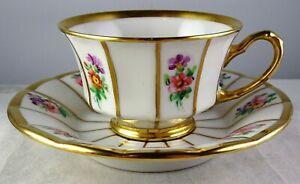 Furstenberg Demitasse Cup & Saucer Gold Gilt Trim Hand Painted Floral Panels