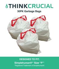 """Think Crucial 30PK Durable Garbage Bags Fit Simplehuman® 'size """"P""""', 60L / 13-16"""