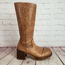 VTG Bronx Womens 6 Leather Chunky Platform Boots Zip Up Embossed Country Boots