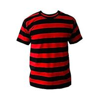 BLACK & RED STRIPED MENS T SHIRT PUNK CLASH PISTOLS Sid Vicious Johnny Rotten