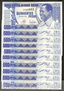 10x Guinea-Bissau 500 Pesos 1990 Unc pn 12a