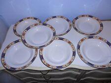 "7 Vintage Bridgwood Anchor China Floral Large 10"" Bowls England"
