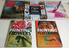 LOT OF 5 books on PAINTING & DRAWING, PORTRAITS, WILDLIFE, FLOWERS & MORE
