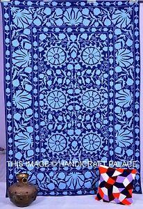 Ouzbek Suzani Lit Couvre Lit Drap Indien Coton Broderie Lit Housse Handmade