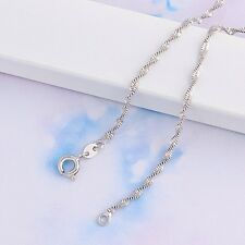 9ct 9K White Gold Filled Ladies Water wave NECKLACE CHAIN.18inches,3.1g Gift