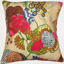 """Cushion Cover 16x16"""" 40cm Indian Cotton Kantha Flower Leaves Floral Tropical"""