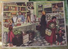 Ancienne Carte expo Affiche Scolaire  42x30 L'épicier Charcuterie 1950