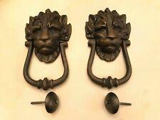 2 Black Cast Metal Iron Lion's Head Door Knocker 10 Downing Street Door Knockers
