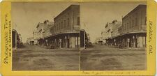 California stereoview, 1860's Main Street in Stockton, CA good view of stores
