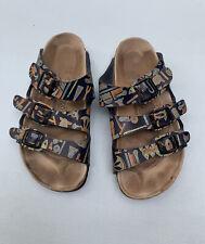 Birkenstock Papillo Sandals 37 Blue Egyptian Hieroglyphics Strappy Shoes Slip On