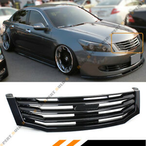 For 2008-2010 8th Gen Honda Accord 4 Door Sedan Glossy Black Front Grille Grill