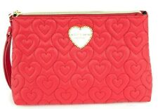 Betsey Johnson Red T-bottom Cosmetic Wristlet Bag Quilted Hearts Large Pouch