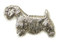 Sealyham Terrier Brooch, Silver Plated