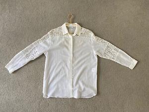 Sandro - White Cotton & Lace Blouse, Size 2