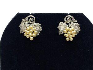 Antique Art Deco Sterling Silver Marcasite & Faux Pearl Grape Screwback Earrings