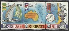 KIRIBATI 1986 AMERICA'S CUP YACHTING SHIPS MAP Strip of 3v  MNH
