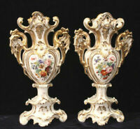 Unusual PAIR XL VIEUX PARIS porcelain Dragon handle Vases XIX attr. jacob petit