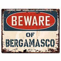 PPDG0054 Beware of BERGAMASCO Plate Rustic Chic Sign Decor Gift