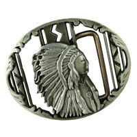 Vintage Western Belt Buckle Indian Silver Rodeo Cowboy Casual Silver
