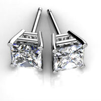 1.00 Ct Solitaire Diamond Earring Stud 14K Real White Gold Princess Cut Studs