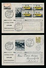 SWITZERLAND 1946 AIRMAIL PIONEERS ILLUSTRATED 2 COVERS HOTEL BAHNHOF DUBENDORF