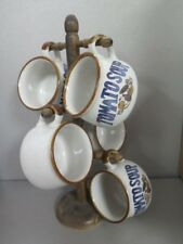 4 TOMATOE SOUP MUGS ON WOOD TREE CUP HOLDER