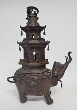 19th Century Chinese Elephant Pagoda Bronze Censer Lot 10