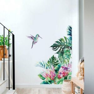 Wall Stickers Tropical Leaves Flowers Bird Bedroom Living Room Wallpaper Decal