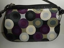Coach Multi Color Silk with Patent Leather Trim Cosmetic Make Up Bag