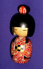 Vintage 7 1/4 In. Wooden Hand Painted Japanese Geisha Girl Wearing Kimono Figure