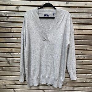 Gant Womens Grey Silver Shimmer Wool Cashmere Blend Jumper Size XL BNWOT