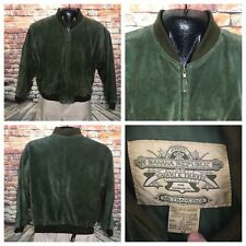 Vintage Banana Republic Shawl Collar Green Suede Leather Bomber Jacket Safari M