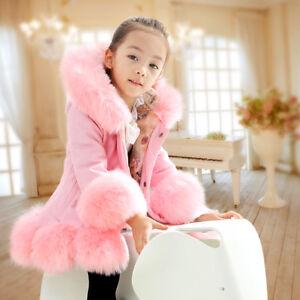 Girls Boys Winter Coat Fur Hooded Long Parka Coat Windproof Jacket  Kids Paded
