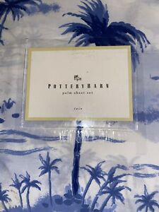 Pottery Barn Palm Trees Hibiscus Twin Blue White Sheet Set New Old Stock