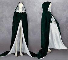 White Silk Medieval Wedding Cape Halloween Velvet Hood Cloak Wicca Stock S-6XL