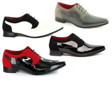 Para hombres Cuero Negro Y Rojo Forrado Patente Zapatos Formal Para Boda, Fiesta (Armando