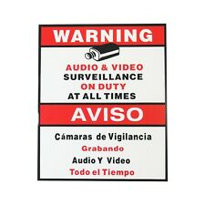 5x Cctv Security Surveillance Warning Sign Audio Video English Spanish 9''x11' 39;