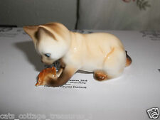 Danbury Mint Cats of Character WHATS THIS Siamese Playing w/Leaf Bone China VGC