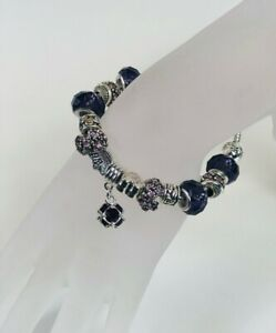 Women Sterling Silver Charm Bracelet With Pandora charms and Crystal Beads