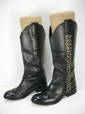 SPIRIT BY LUCCHESE AVERY GROMMET BLACK LEATHER RIDING BOOTS WOMEN'S 7 M
