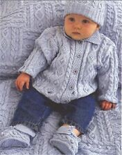 Knitting Pattern Baby's Fab Cable DK Jacket Hat Bootees Mittens & Quilt Set