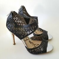 Sam Edelman Alva Open Toe Black Lace Cut Out Metallic Heels Zipper Womens Size 5